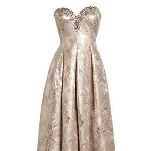 New Eliza J strapless Gold Ballgown Dress 8